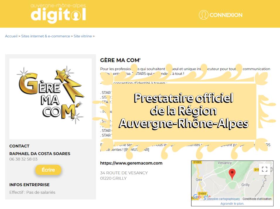 Prestataire officiel de la Région Auvergne-Rhône-Alpes